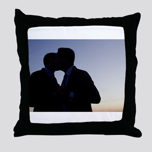 LGBT gay wedding marriage grooms kiss Throw Pillow